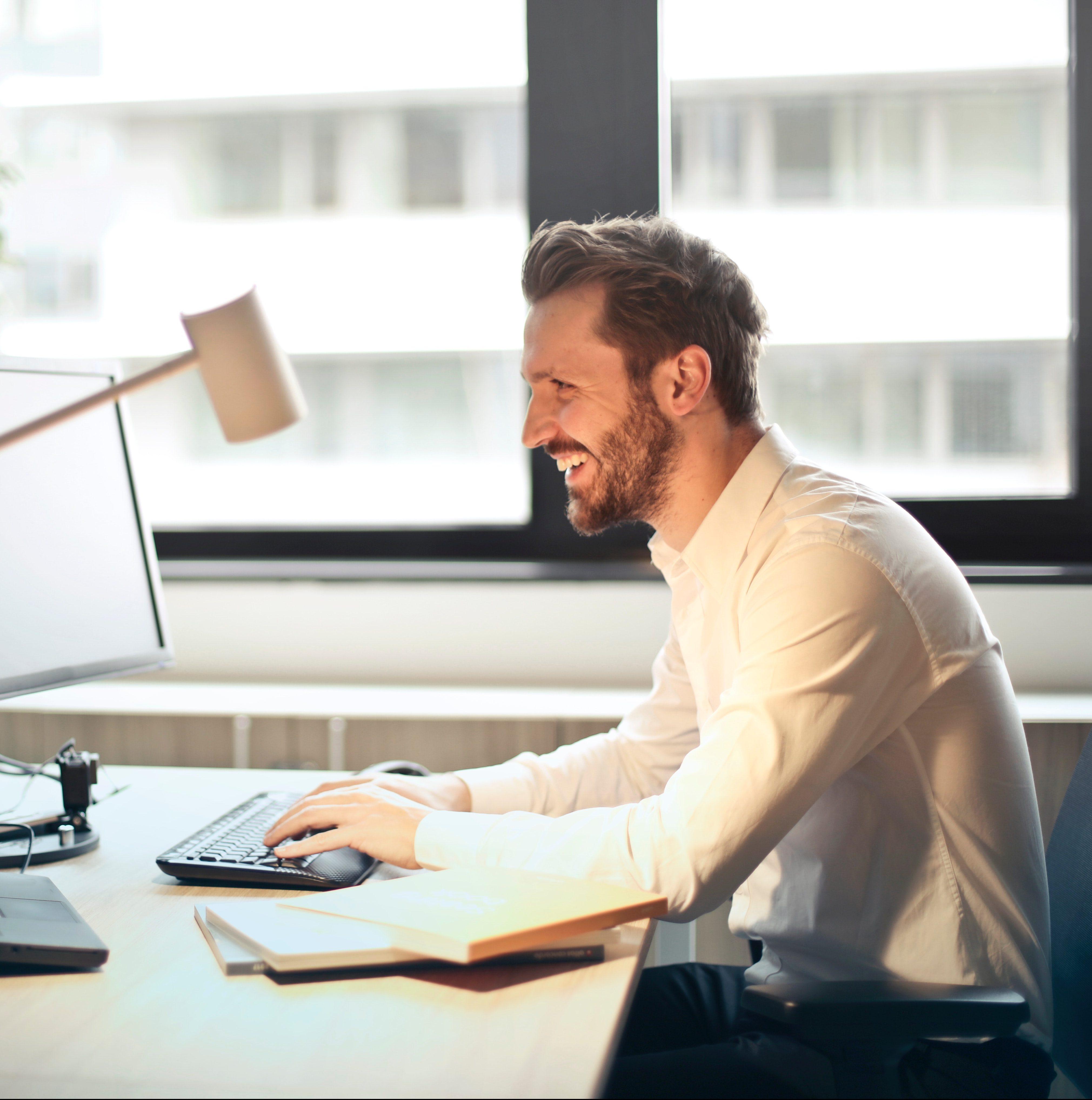 Man working at desktop computer