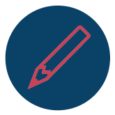 Customization icon - red pencil on dark blue circle