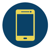 Mobile icon - yellow phone on dark blue circle