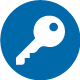 Single-Sign-On Icon of a key: White key on a blue circle