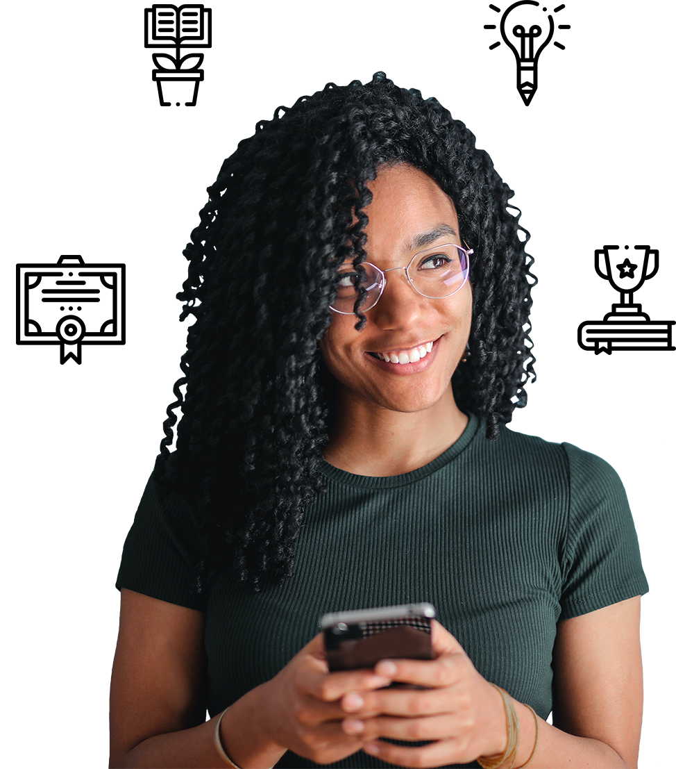 Woman with a phone and icons around her