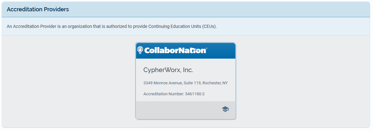 CypherWorx as a listed Accreditation Provider
