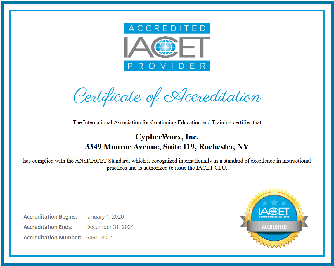 CypherWorx Certificate of Accreditation for IACET