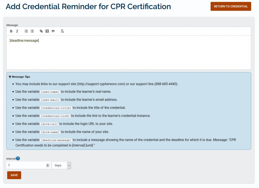 Send credential reminders