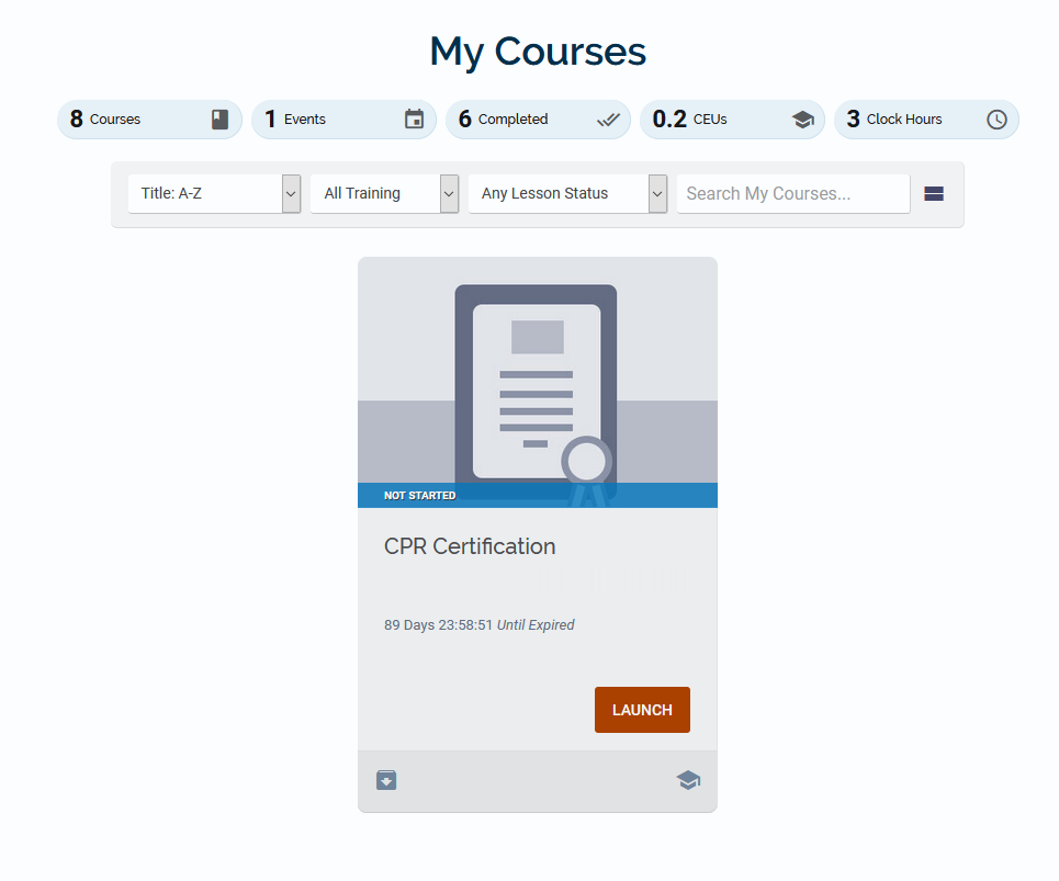 CPR Credential on My Courses