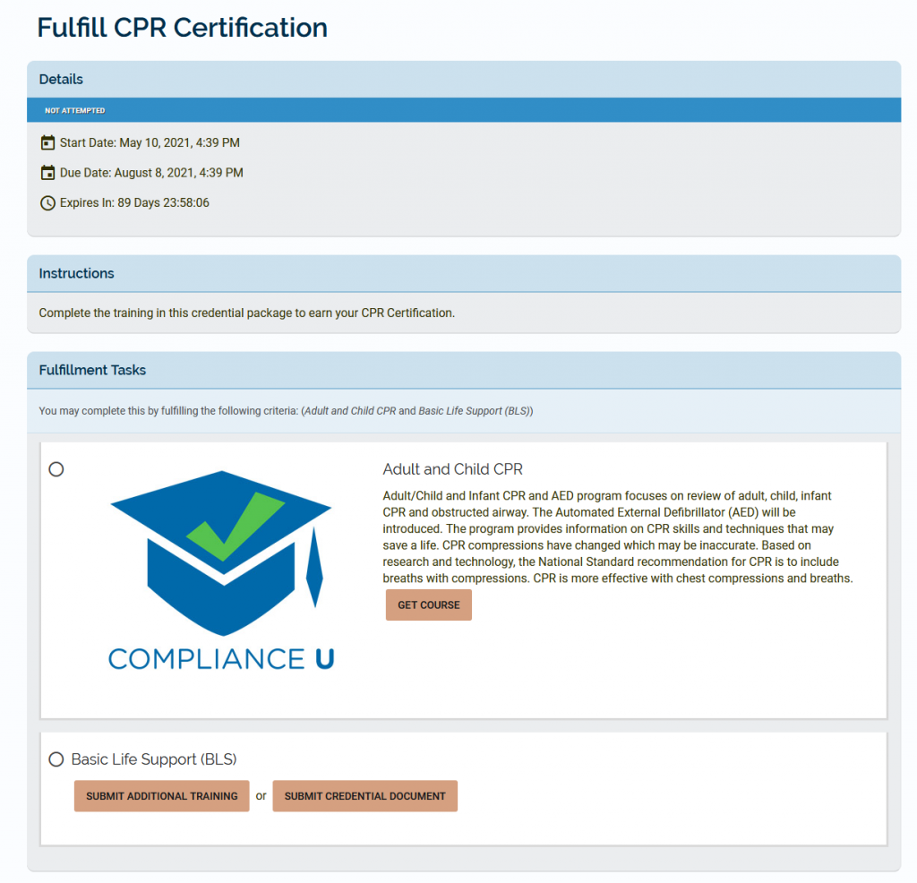 Fulfill CPR Credential