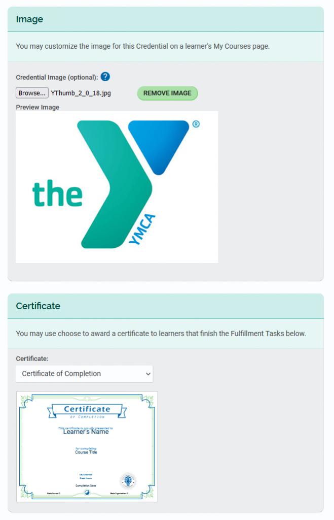 Upload YMCA logo and select certificate