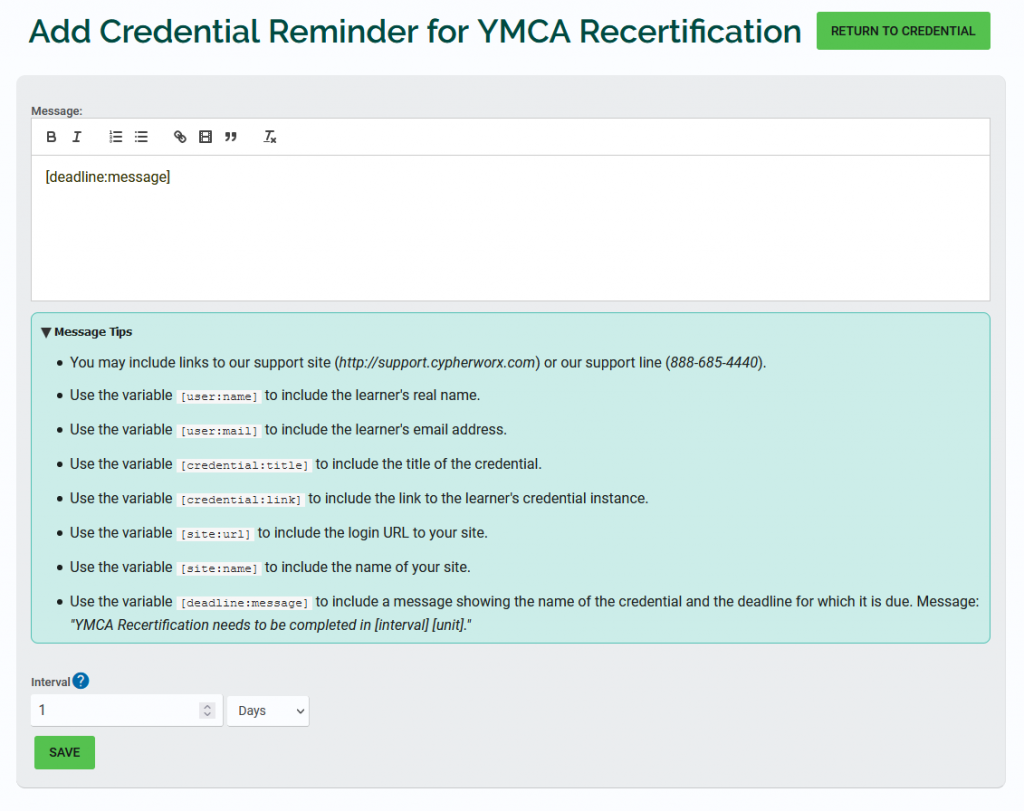 Credential notifications