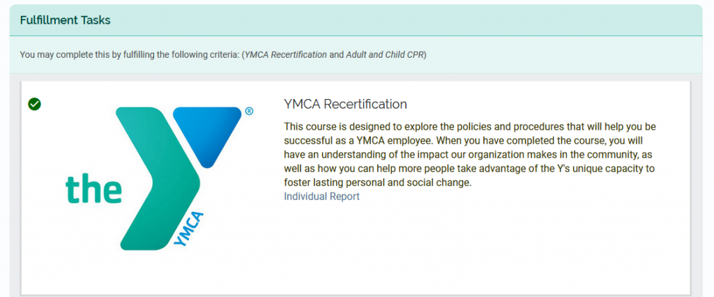 Completed YMCA Recertification