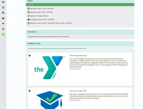 Manage YMCA recertification programs for your employees