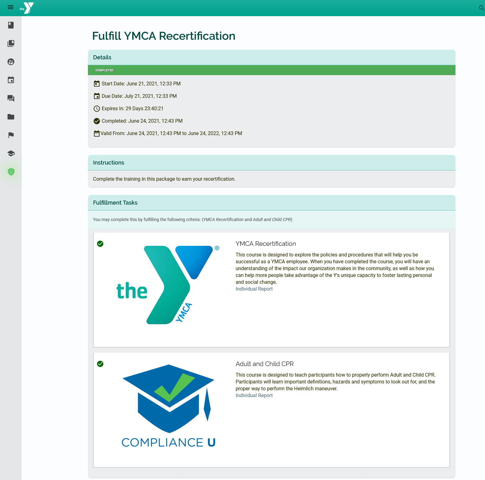 Fulfill YMCA Recertification